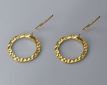 Circle- Gold Earrings dangle earrings Hammered Earrings Hammered Gold Earrings Hammered Circle