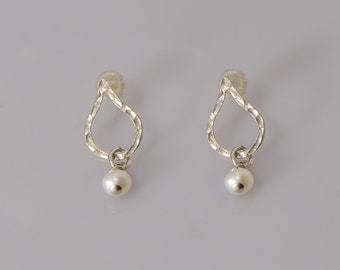 Drops - Sterling Silver Earring Hammered  Drops Earring, Post Earring, Silver Drops Earring,stud earrings    Jewelry Handmade