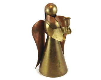 Brass Angle Candle Holder, body is made out of Brass, wings out of copper, Christmas decoration