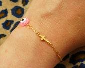 Evil Eye Bracelet -  Sideways Gold Cross Bracelet -  Protection Bracelet - Faith Bracelet (also in SILVER) - Turquoise Bracelet - Neon Pink