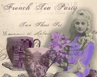 French Tea Set - Two Sheet Set - Tea Party in Paris - Digital Collage Sheets