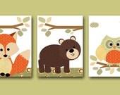 Owl Nursery Fox Nursery Baby Nursery Decor Baby Boy Nursery Kids Wall Art Kids Art Baby Room Decor Nursery Prints set of 8x10 Bear Orange