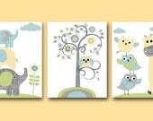 Baby Nursery Print Owl Decor Owl Nursery Giraffe Nursery Elephant Nursery Baby Boy Nursery Decor Children Art Print set of 3 Gray Blue