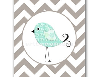 Bird Nursery Art Baby Boy Nursery Decor Baby Nursery Print Children Art Print Nursery Prints Boy Art Bird Gray Mint Baby Art Prints