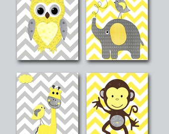 Baby Girl Nursery Print Baby Room Decor Monkey Kids Wall Art Owl Nursery Art Giraffe Nursery Elephant Nursery set of 4 Yellow Gray Art