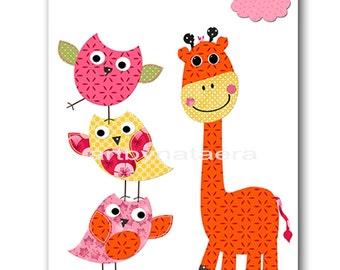 Baby Girl Nursery Decor Baby nursery print Owl Decor Giraffe Nursery children art print Nursery Print Girl Art 8x10 owl rose yellow orange