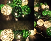 Battery Powered LED Bulbs 20 Mixed Green Lantern Rattan Balls Fairy String Lights Party Party Patio Wedding Floor Hanging Gift Home Decor
