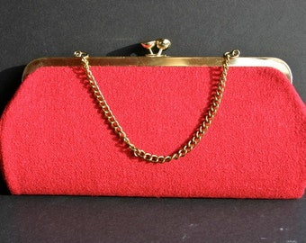 Vintage red cloth evening bag, purse, clutch, gold chain