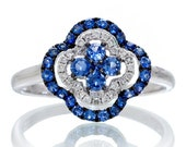 18 Karat White Gold Clover Shaped Sapphire and Diamond Anniversary Something Blue Floral Ring