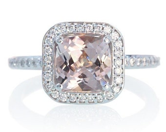 Custom 14K Cushion Cut Diamond Halo Alternative Bridal Wedding Anniversary Jewelry Morganite Engagement Ring