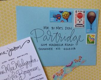 Hand-Lettered Address Envelopes / Hand Lettered Envelope / Hand Lettered Envelope Addressing / Hand Written Calligraphy Envelope / Wedding