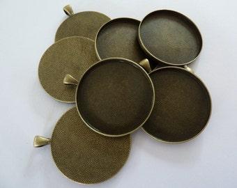 10 x Round large Antique Bronze 38mm pendant trays - blank bezel cabochon setting