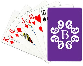 Monogrammed Playing Cards Personalized Deck of Cards Custom Card Deck Choose Colors