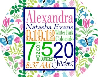 Personalized Birth Announcement Plate New Baby Melamine Plate Personalized Baptism Gift Floral Girl Plate