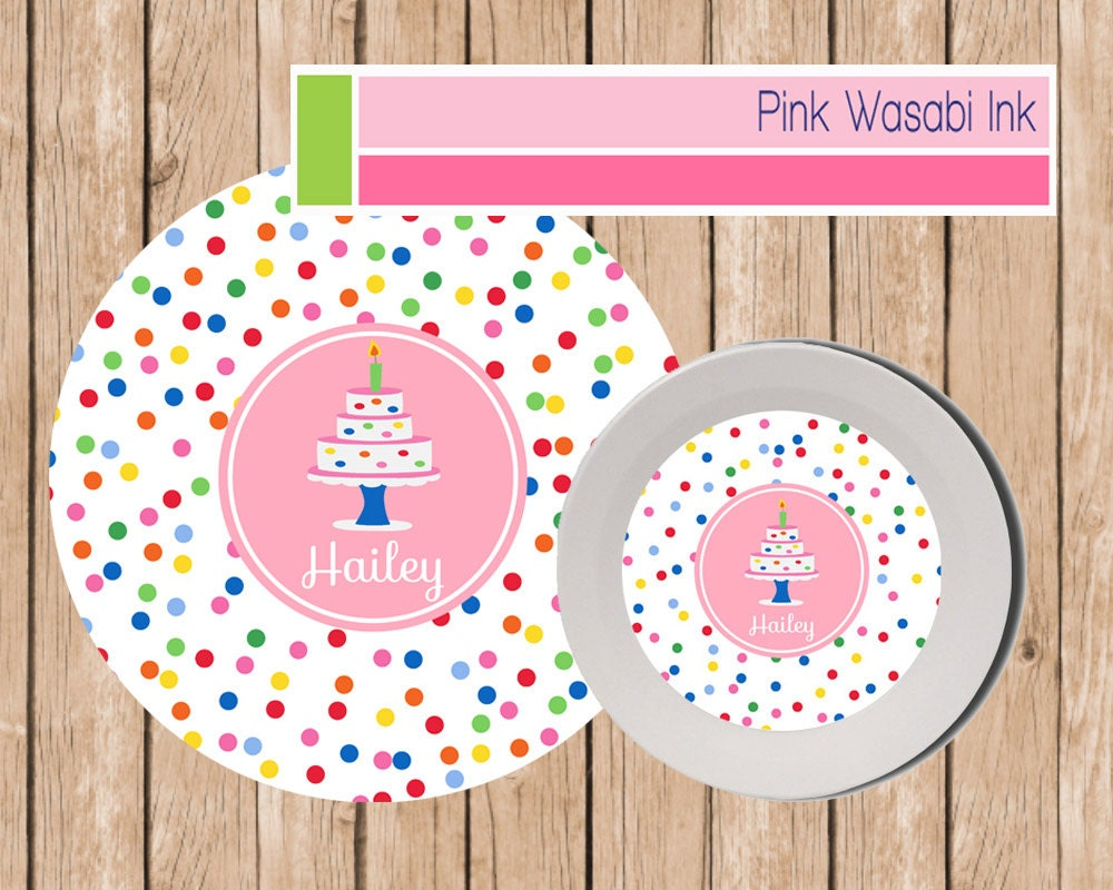 Birthday Bowl: Birthday Plate And Bowl Set Personalized Kids By PinkWasabiInk