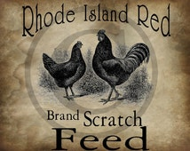 Primitive Rhode Island Feed Label Chicken Rooster Jpeg Digital  Image Feedsack Logo for Pillows Labels Hang tags Magnets Ornies