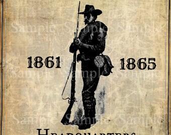Primitive Civil War Confederate Soldier Feedsack Logo Pantry Jar Crock Crate Book Label Jpeg Image
