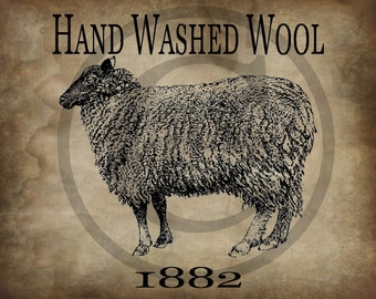Primitive Vintage Sheep Hand Washed Wool Jpeg Digital  Image Feedsack Logo for Pillows Pantry Labels Hang tags Magnets Ornies