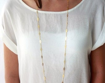Long gold chain necklace / long flower necklace / double strand necklace / gold chain necklace / birthday gift idea