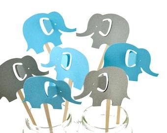 12 Elephant Cupcake Toppers / Elephant Baby Shower / Elephant Cupcakes / Elephant Party Invitation / Baby Shower Decor / Elephant Birthday