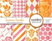 Digital Scrapbook Paper Pack - Summer Garden - Distressed Digital Paper - PInk & Orange Floral
