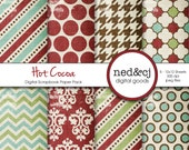 Digital Scrapbook Paper Pack - HOT COCOA - Distressed Digital Paper - Vintage Christmas Digital Paper - Red, Green, Aqua, Chocolate Brown