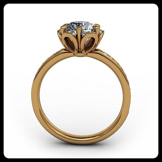 floral engagement ring setting moissanite center