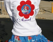 Ari's Angels Girls little Mermaid, Ariel Birthday Outfit, Monogrammed Personalized Shirt & Full Twirling Skirt