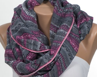 FREE Shipping. Gray and Pink Scarf. Valentine scarf. Circle Love scarf. Loop scarf. Holiday Gift scarf.