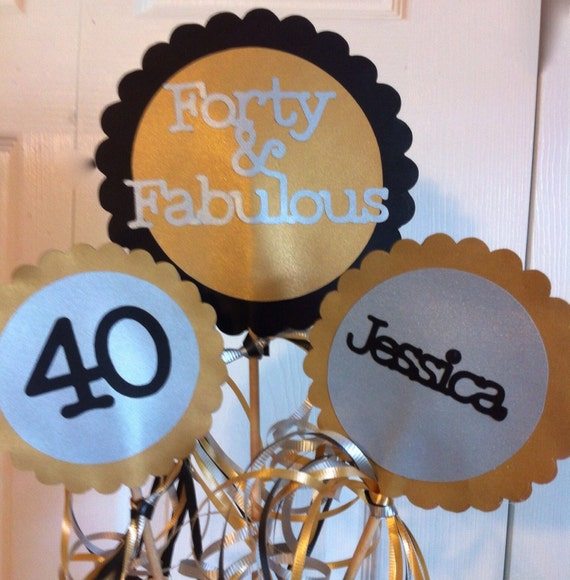 Items Similar To 40th Birthday Decorations 3 Piece
