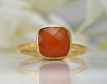 Carnelian Ring - Gemstone Ring - Gold Ring - Stackable ring - Bezel Set Ring - Cushion cut ring - sterling silver ring - mothers Day gift