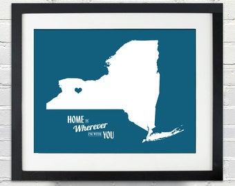 Home Is Wherever I'm With You - State or Country, Print or Canvas Map Art Gift, Moving Away, Home Decor, Travel Map Art Gift