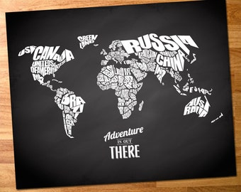 Adventure Is Out There - World Word Map with Travel Quote on Chalkboard Background - INSTANT DOWNLOAD - 8x10