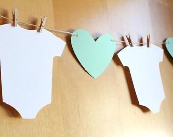 Baby Shower Bunting / Banner / Garland / Heart, Clothesline, Infant Bodysuit