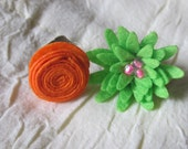 Orange/Lime green Felt Flower antique bronze adjustable girls rings