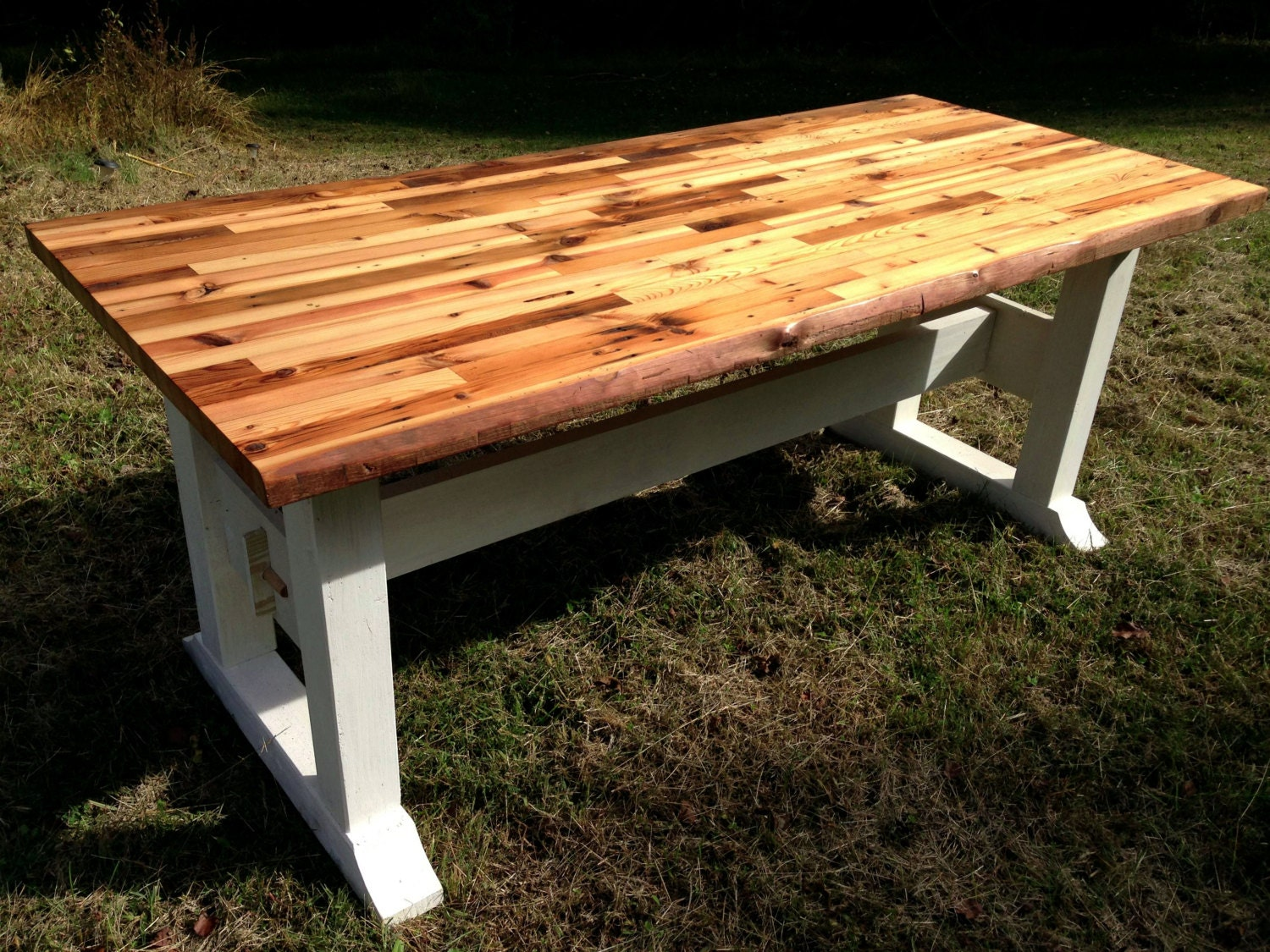 Butcher Block Table Top And Trestle Frame