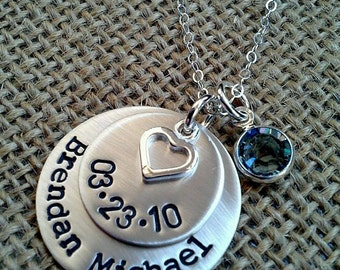 Personalized Mom Necklace, Custom Name Date Necklace, New Mom Necklace, Stamped Evermore