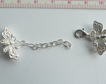 Multi-strand Sterling silver Butterfly clasp for necklace or bracelet