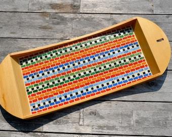 Serving tray colorful glass mosaic, birch wood, Maya design