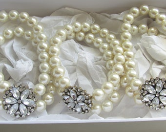 Pearl Bracelet / Bridal Bracelet / Rhinestone Bracelet