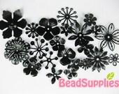 FG-FG-09067SM- Nickel free, Color enameled,  set of flower filigree, black, 22 pcs