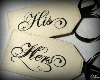 His & Hers Fabric Luggage Tags
