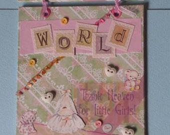 Welcome Baby Girl Wall Hanging