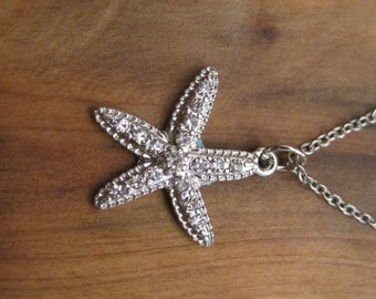 Silver Rhinestone Starfish Necklace - Silver Starfish Necklace