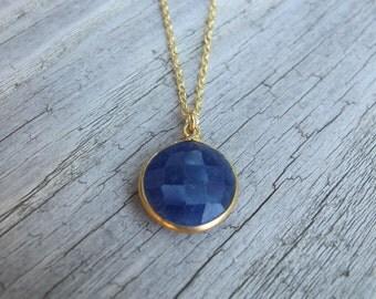 Blue Sapphire Necklace-Sapphire Necklaces-Stone Necklaces-Gemstone Necklace-Gifts for Her-Blue Stone Necklaces-Silver Necklaces-Necklaces