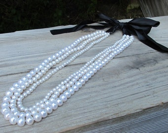 Pearl Bib Necklace, Statement Necklace, Freshwater Pearl Necklace, Bib Statement Necklace, White Pearl Necklace, Bib Necklace