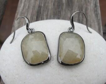 Green Sapphire Earring- Unique Dangle Earring- September Birthstone Earring- Green Black Earring- Evening Drop Earring- Edgy Silver Earring