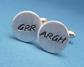 Grr Argh - A Pair of Hand Stamped Aluminum Cufflinks