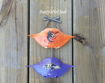 THE ORIGINAL Double Stacked Crab Shell Ornament  Baltimore Ravens Inspired Orioles Inspired  Wedding Shower Groomsmen Bridesmaid Cake Topper
