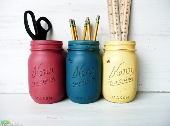 Dorm Decor Red Blue Yellow Painted Mason Jar Pencil Holder